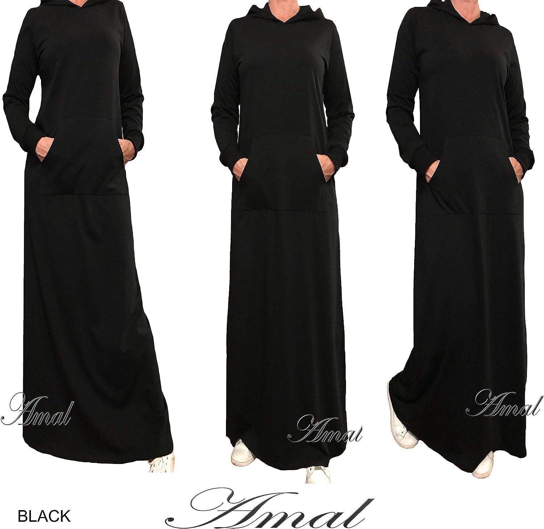 AMAL Muslim Women Dress Knitwear Maxi Islamic Dress Long Sleeves Hijab Abaya