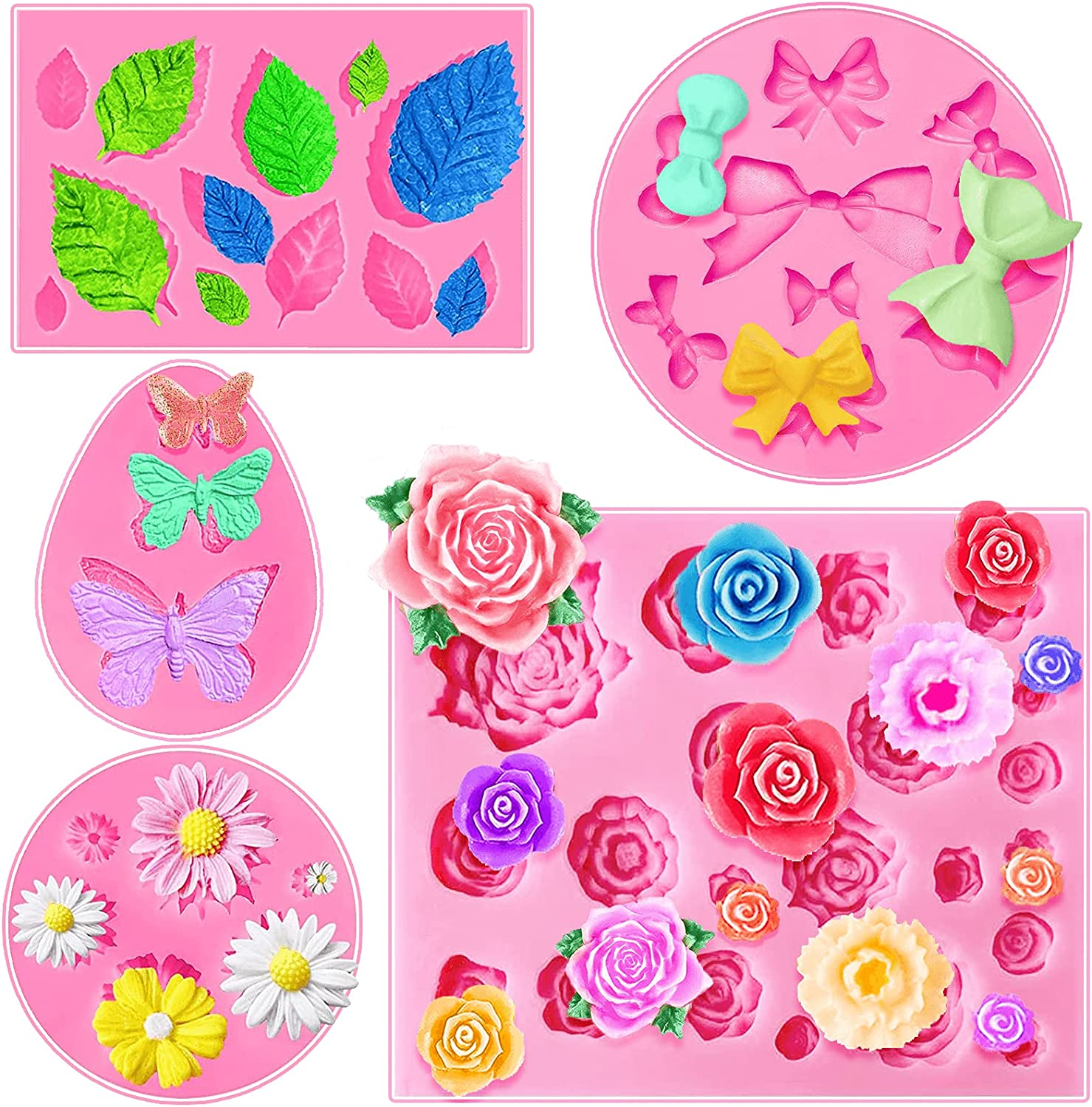 5 Pieces Fondant Molds Butterfly Mold Mini Flowers and 22 Cavity Rose Flowers and Leaves Fondant Candy Silicone Molds,Bowknot Silicone Mold for DIY Cake Decoration,Candy Chocolate Soap Wax Making