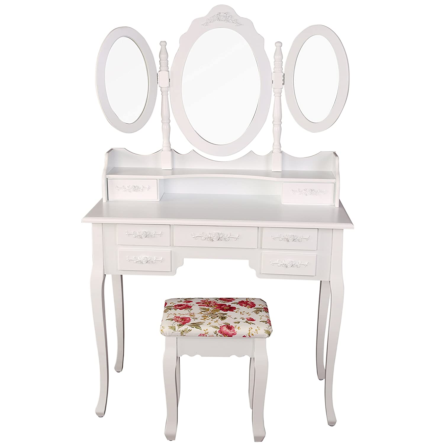Commode Maquillage Free Magnifique Coiffeuse Table De Maquillage  # Commode Laquee Blanche Avec Tiroirs Rabattables