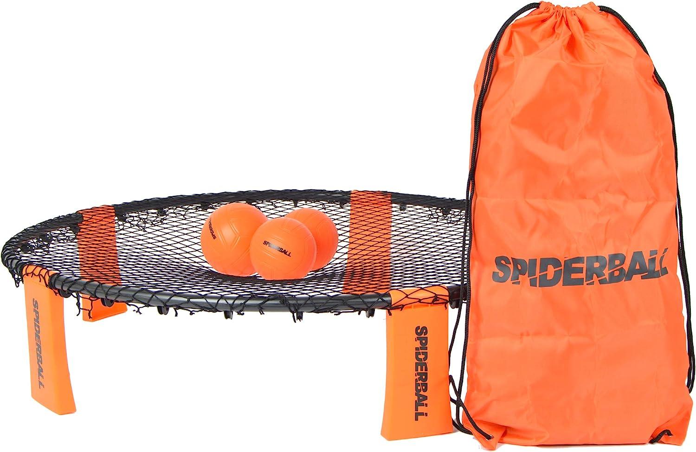 Ocean 5 Set de Juego Spiderball de la Marca, Juego de Pelota con Red, 3 Pelotas y Bolsa de Transporte - para Jugar en el Parque, jardín, Playa o en la casa - para niños y Adultos.