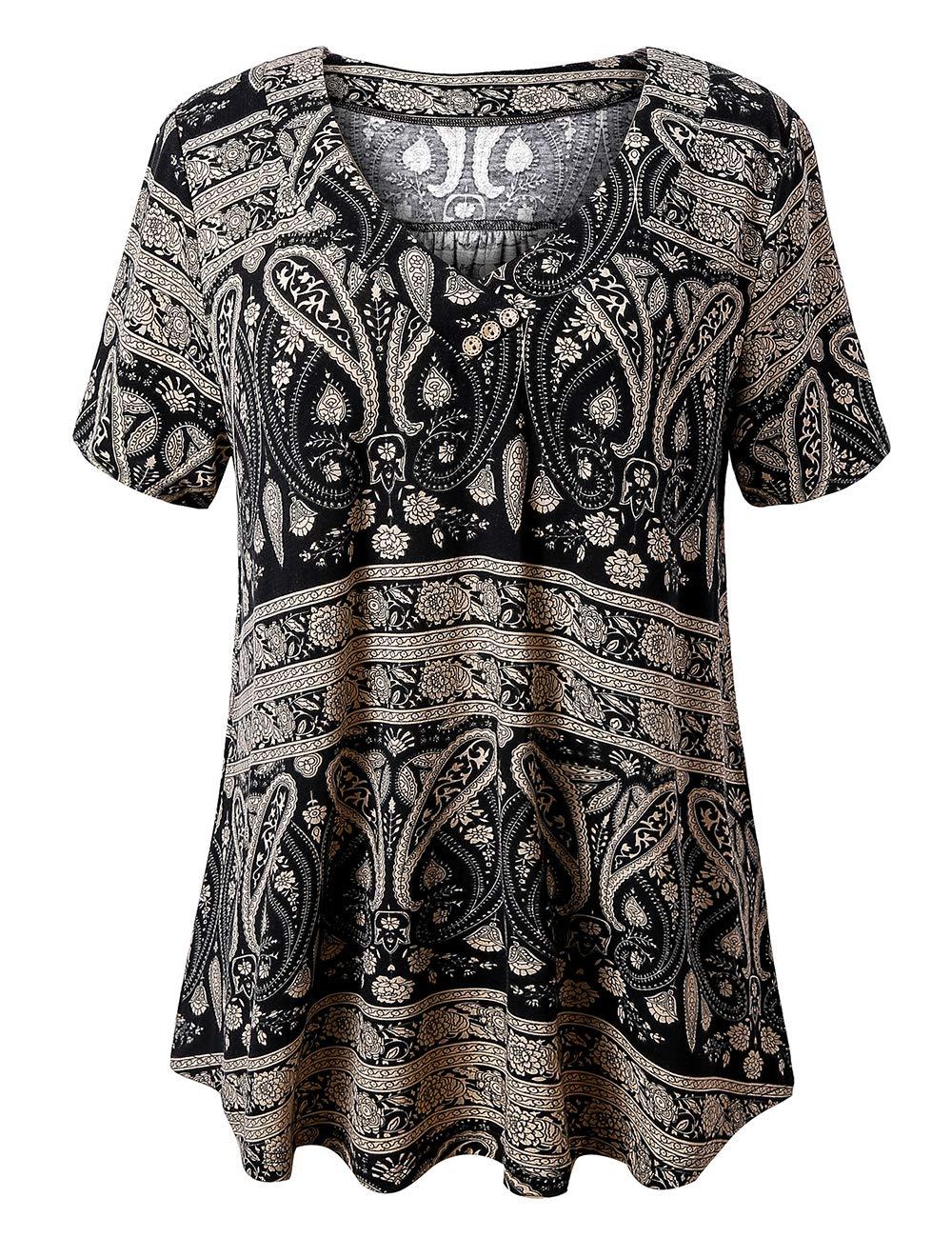U.Vomade Women's Plus Size Tops Short Sleeve Blouses Flowy Summer Tunic Tops M-4X.