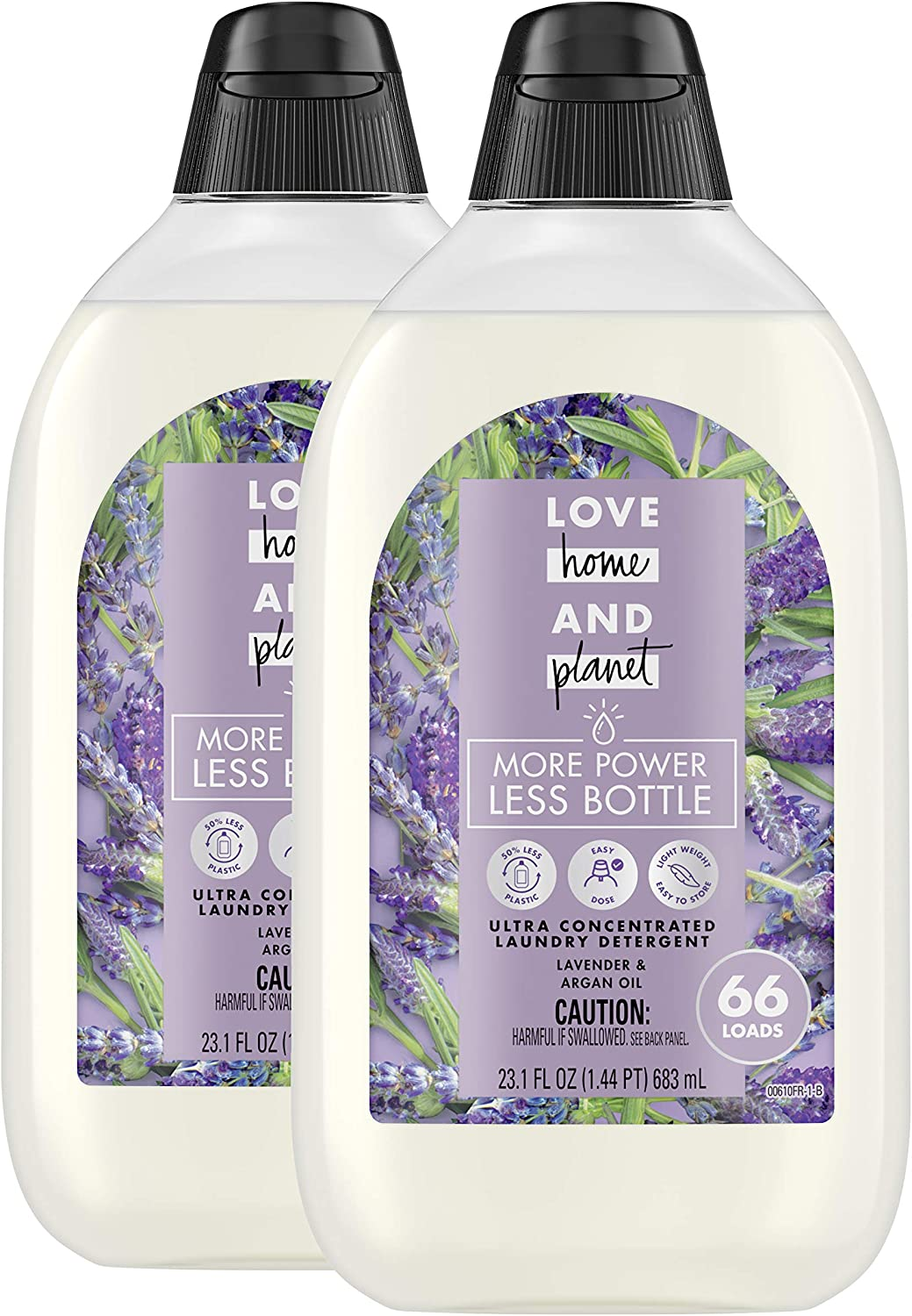 Love Home and Planet Ultra Concentrated Laundry Detergent, Lavender and Argan Oil, 23 oz, 2 Pack (132 Loads)