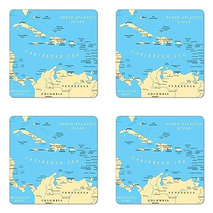 Amazon.com: Ambesonne Wanderlust Coaster Set of Four, Caribbean ...