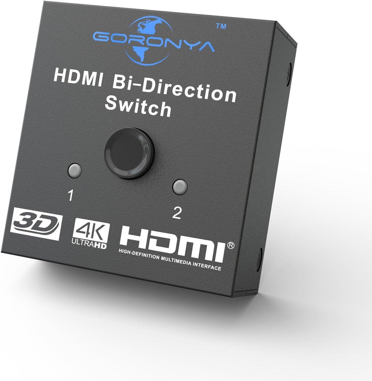 Amazon Com Goronya True 4k Hdmi Switch 2 Ports Bi Directional Switch 2x1 1x2 Hdmi Hub Supports 4k 60hz Ultra Hd 1080p 3d And Hdcp Pass Through Electronics
