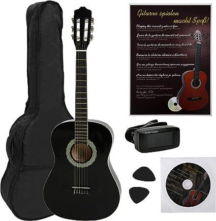 Navarra NV12PK - Guitarra Clásica para Aprender, Sintonizador con Clip Pantalla LCD, con Funda Tipo mochila y Bolsillo para Partituras/ Accesorios: Amazon.es: Instrumentos musicales