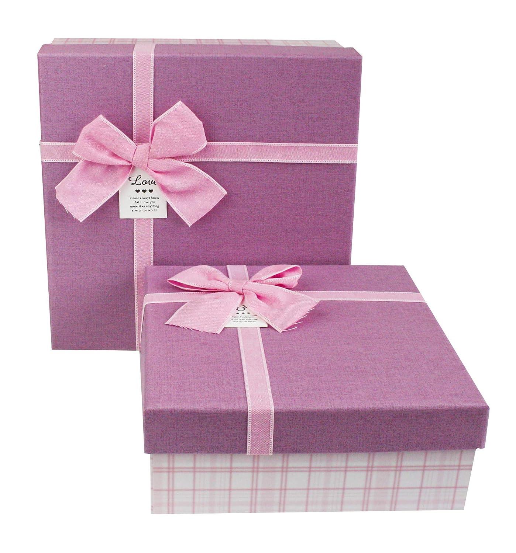 Emartbuy Juego De 2 Casilla Cajas Rígidas De Regalo, De Presentación De Lujo, 23,5 x 23,5 x 10 cm, A Cuadros Blanco/Rosa Caja Con Tapa Rosa, Marrón ...