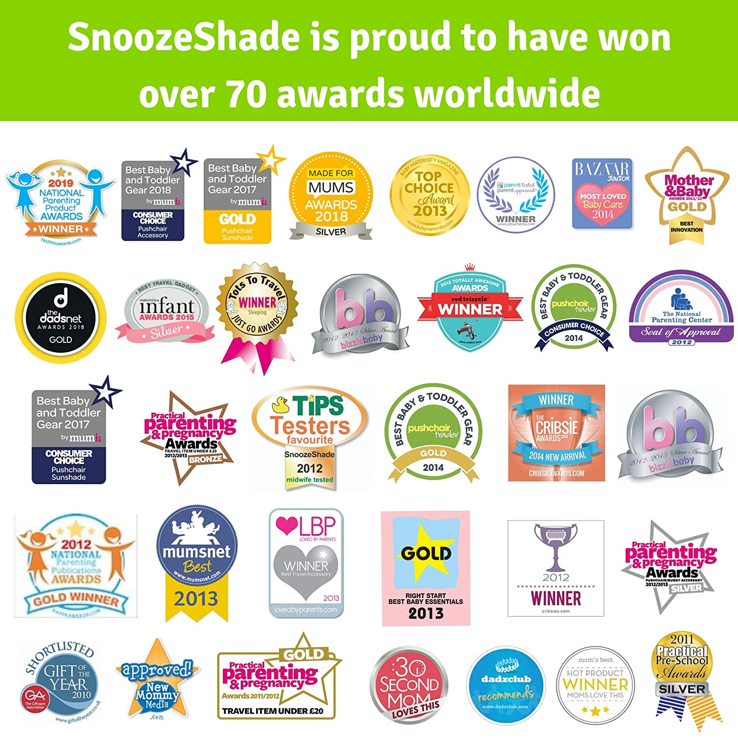SnoozeShade Plus Deluxe 6 Months and Above Sunshade and Baby Sleep Aid