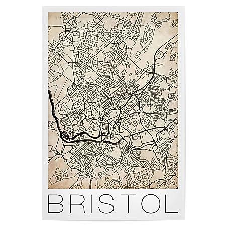 Map Of Bristol England.Artboxone Poster Maps Retro Map Of Bristol England 45x30 Cm Design