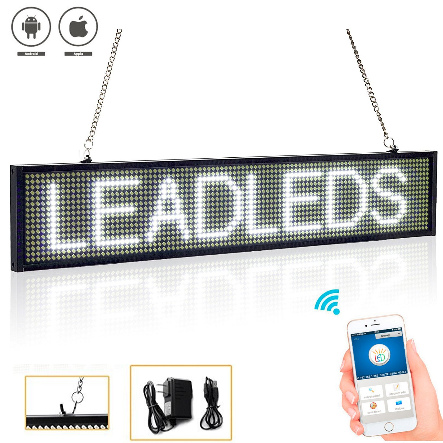Leadleds WiFi LED Sign 20'' X 4'' Programmable Scrolling Message Display Board Business Tool Compatibility iPhone iPad Android Phone Tablet, White