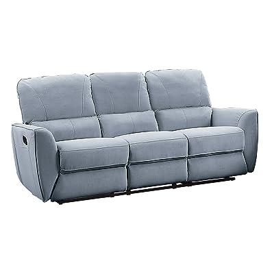 "Homelegance Dowling 85"" Fabric Upholstered Reclining Sofa, Gray"