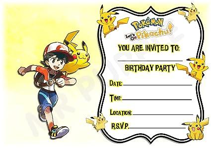 Invitaciones para fiesta de cumpleaños de Pokemon Lets Go ...