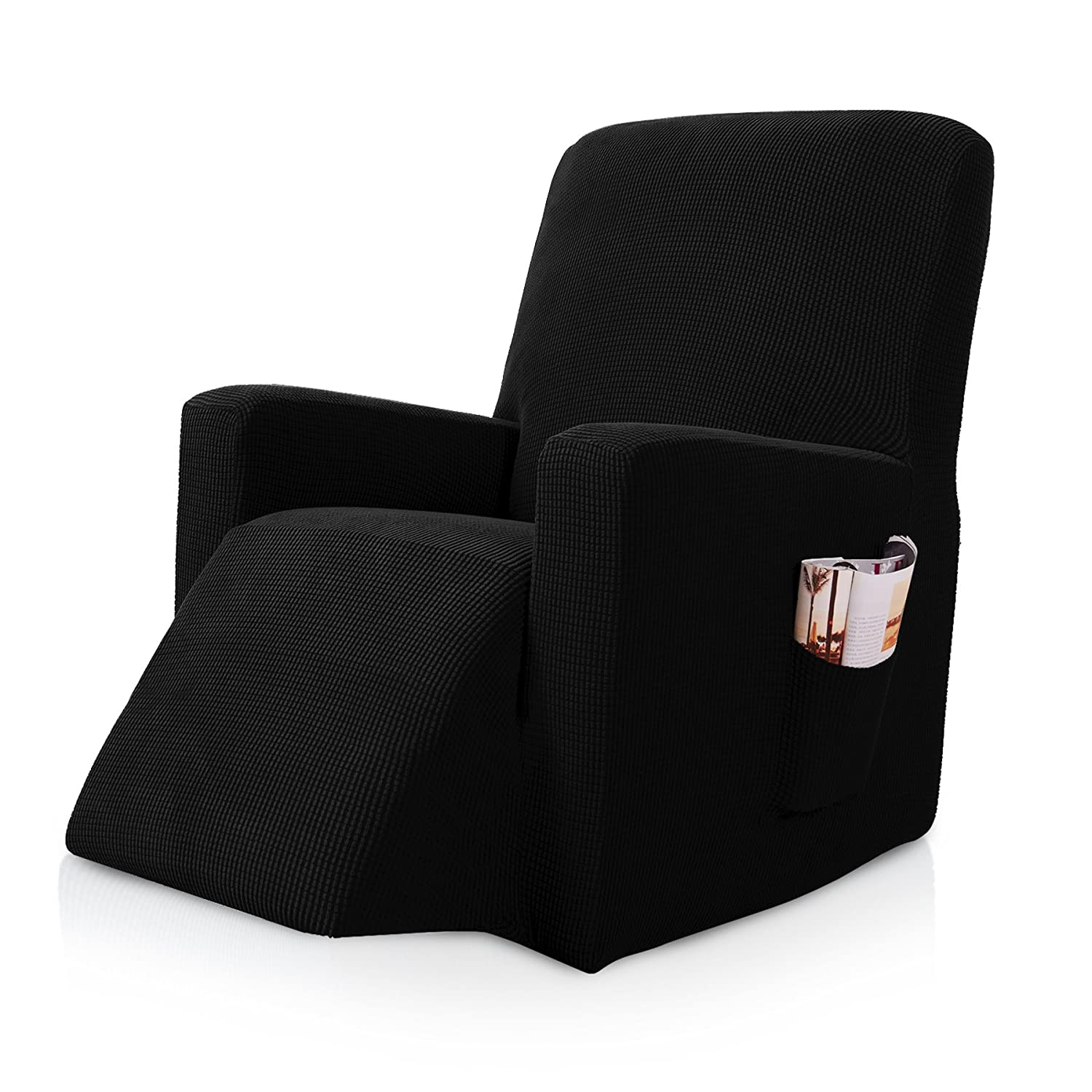 Brilliant Subrtex Stretch Chair Slipcover Furniture Protector Lazy Boy Covers For Leather And Fabric Sofa With Side Pocket Recliner Black Cjindustries Chair Design For Home Cjindustriesco