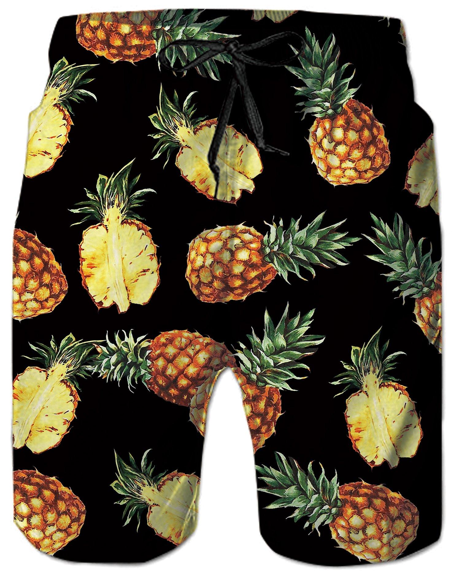 RAISEVERN Mens Pineapple 3D Print Summer Tropical Boardshorts Mesh Lining Quick Dry Holiday Hawaii Beach Shorts Side Pockets Athletic Swim Trunks