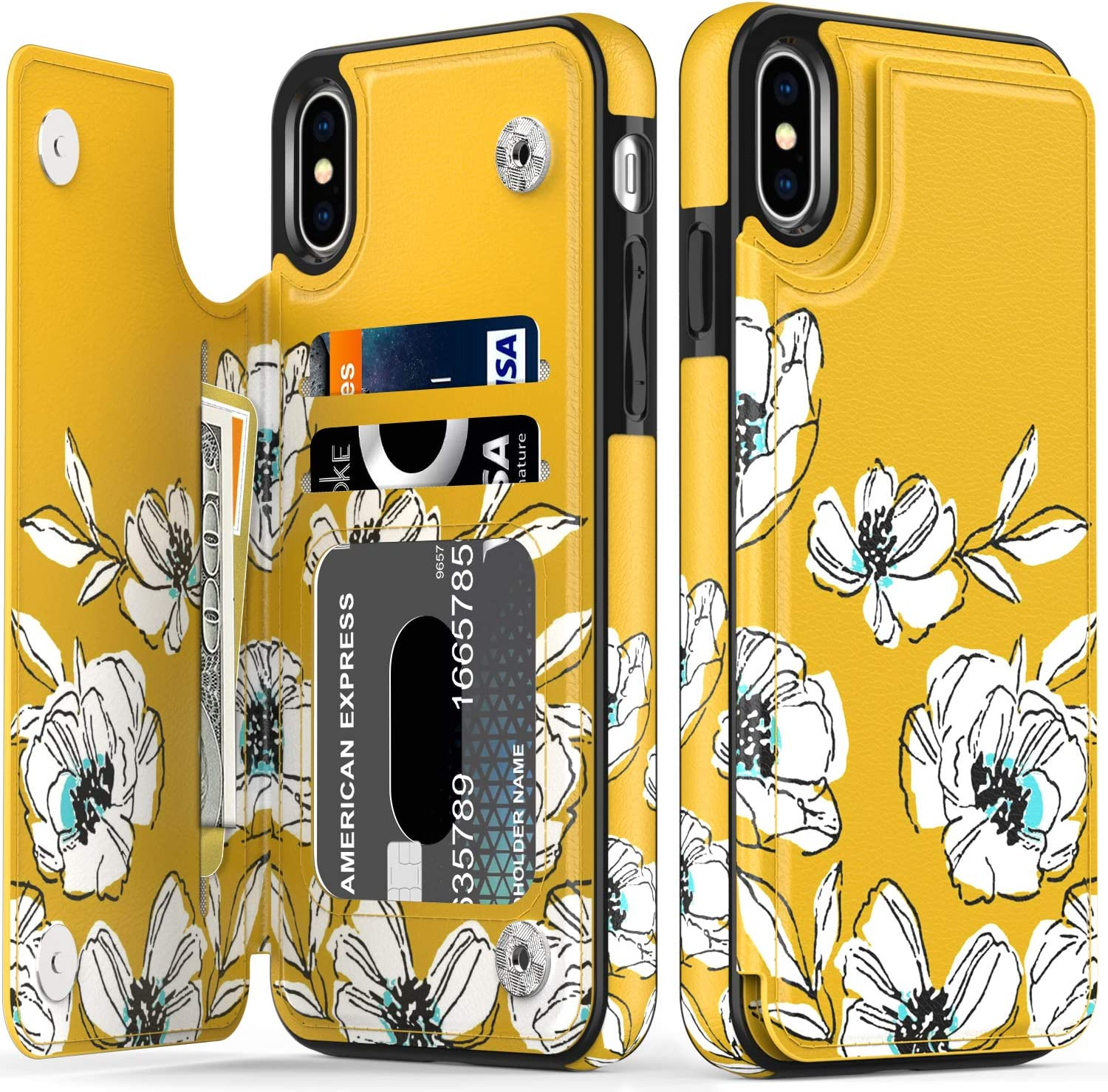 LETO iPhone X Case,iPhone Xs Case,Leather Wallet Case with Fashionable Flower Designs for Girls Women,Flip Folio Cover Kickstand Card Slots,Protective Phone Case for iPhone X/Xs Tiny White Florals
