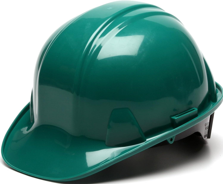 Pyramex Green Cap Style 6 Point Ratchet Suspension Hard Hat