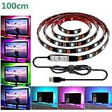 LED テープライト、LHYAN LEDテレビバックライトキット、USB SMD5050 RGB LEDテープ 高輝度 高品質 防水 LEDテープライト DC/5V 両面テープ 間接照明 正面発光 ledイルミネーション (100CM)