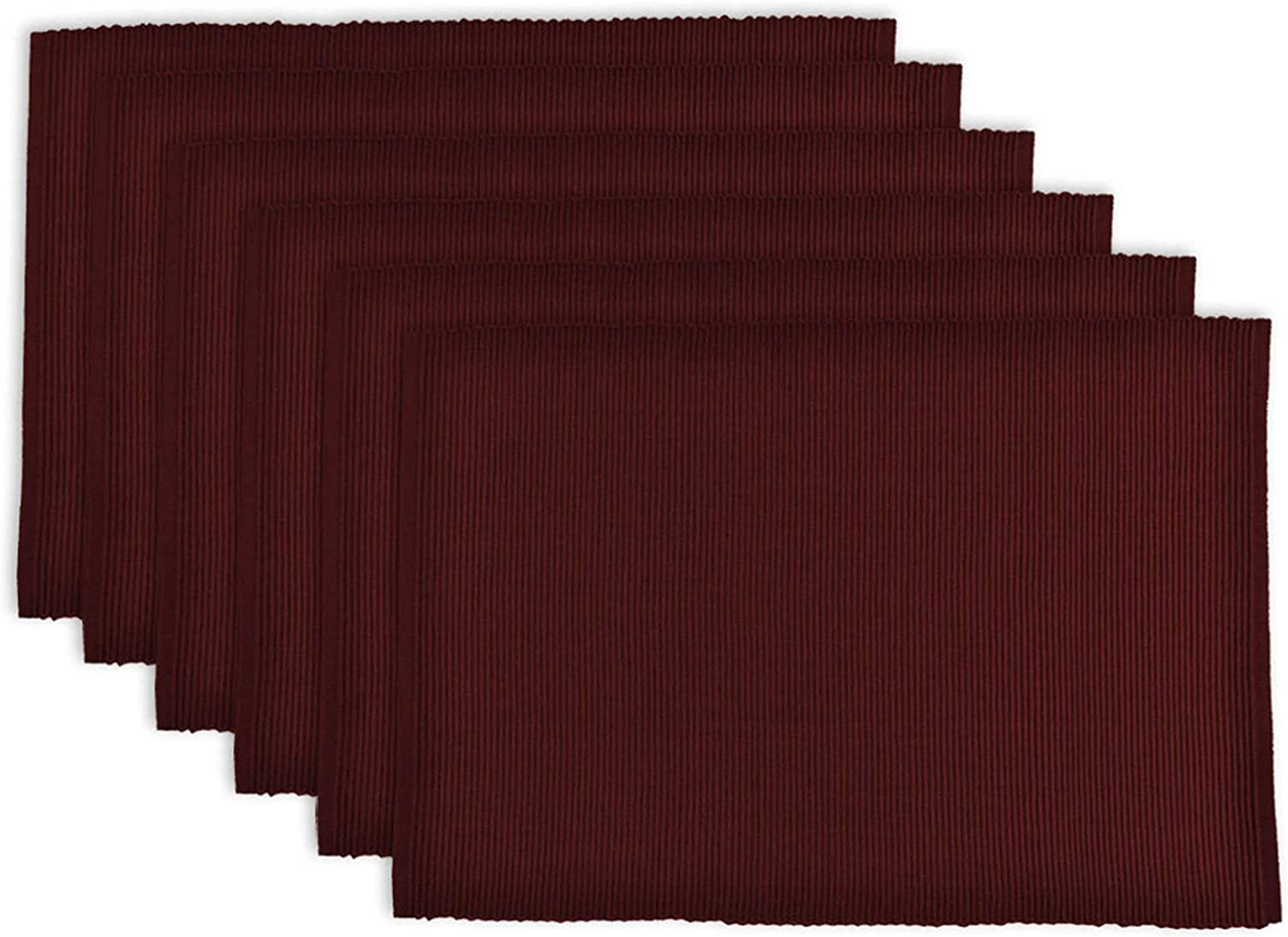 DII 100% Cotton Basic Ribbed Placemat Set, Set of 6, Wine 6 Count