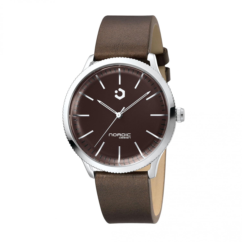 NORDIC DESIGN HAMAR I Armband: Echtleder dunkelbraun - Farbe:Edelstahl Silber - Breite Armband:20 mm