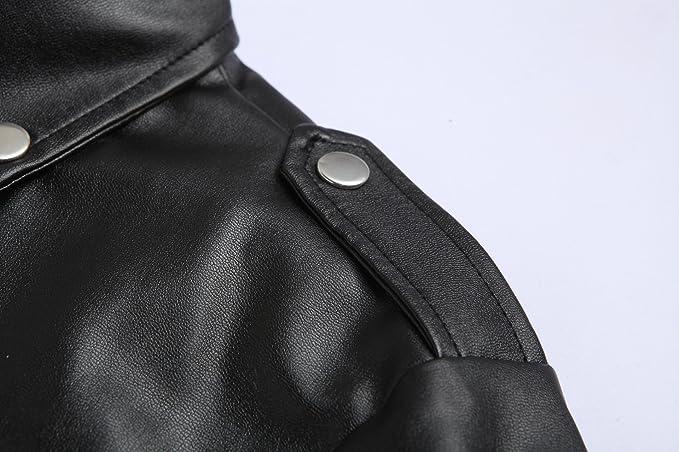 LANBAOSI Veste en Simili Cuir Homme Manches Longues Zippé Noir Blouson de Moto  Rocker Manteau Style Motard  Amazon.fr  Vêtements et accessoires 1cb7780d13a