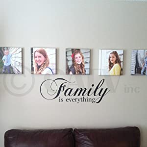 """Family is Everything Vinyl Lettering Wall Decal Sticker (Black, 10""""H x 30""""L)"""