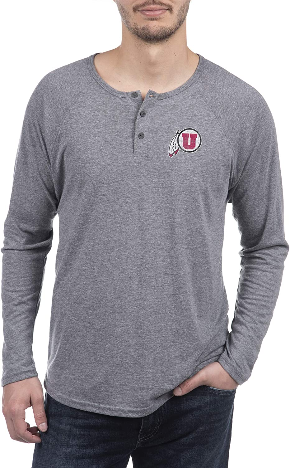 Top of the World NCAA Mens Premium Triblend Long Sleeve Gray Heather Henley