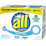 all Powder Laundry Detergent, Free Clear for Sensitive Skin, 52 Ounces, 40 Loads
