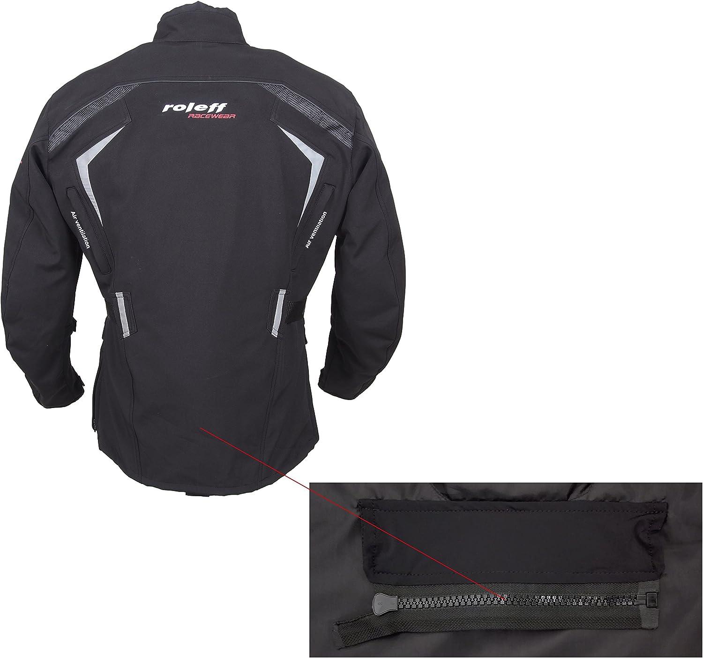 Nero Taglia M ROLEFF RACEWEAR lungo Softshell Giacca da Moto con protezioni e klimamembrane