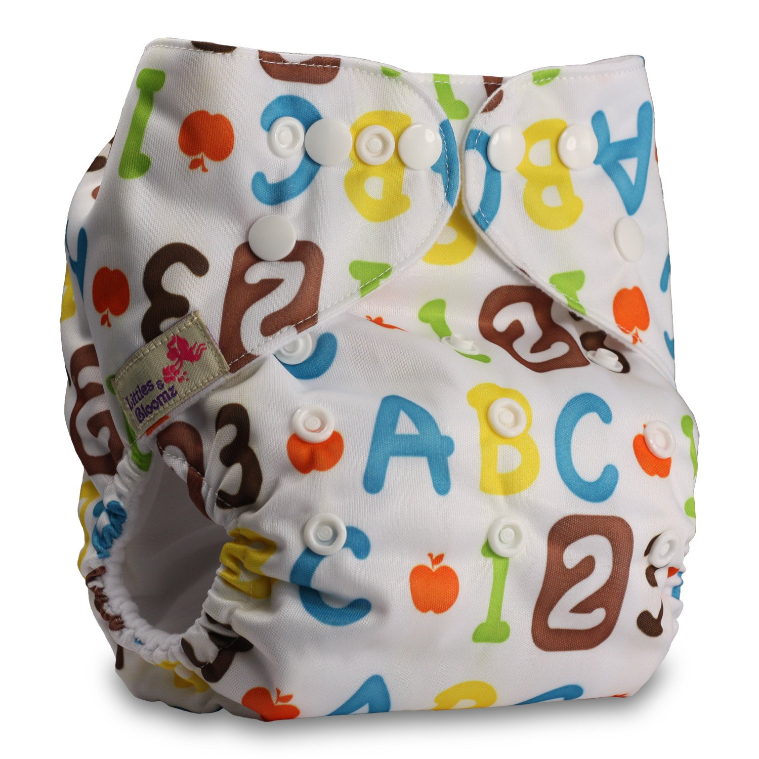 Littles & Bloomz, Reusable Pocket Cloth Nappy, Fastener: Popper, Set of 1, Pattern 44, With 1 Microfibre Insert