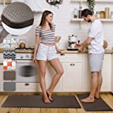 Anti Fatigue Kitchen Rug Set 2 Piece Non Slip Cushioned Floor Comfort Mat Waterproof Comfort Standing Kitchen Rug Brown 17.5""