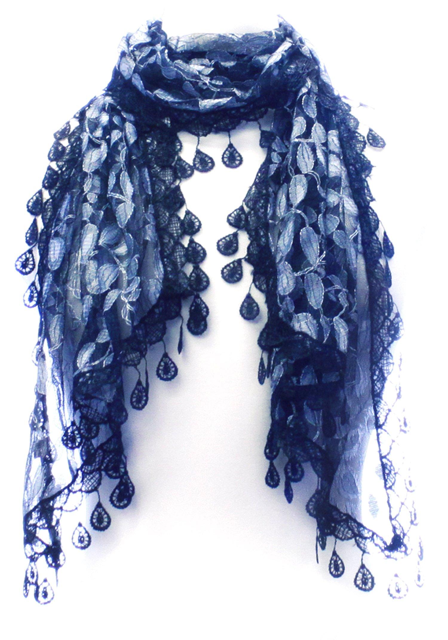 L Lace Scarf Womens Elegant Chiffon Embroidered Fashion Tassels Many Styles
