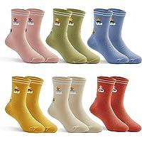 Girls Cotton Crew Socks Kids Seamless Toe Socks Colorful Athletic Quarter Socks Tree