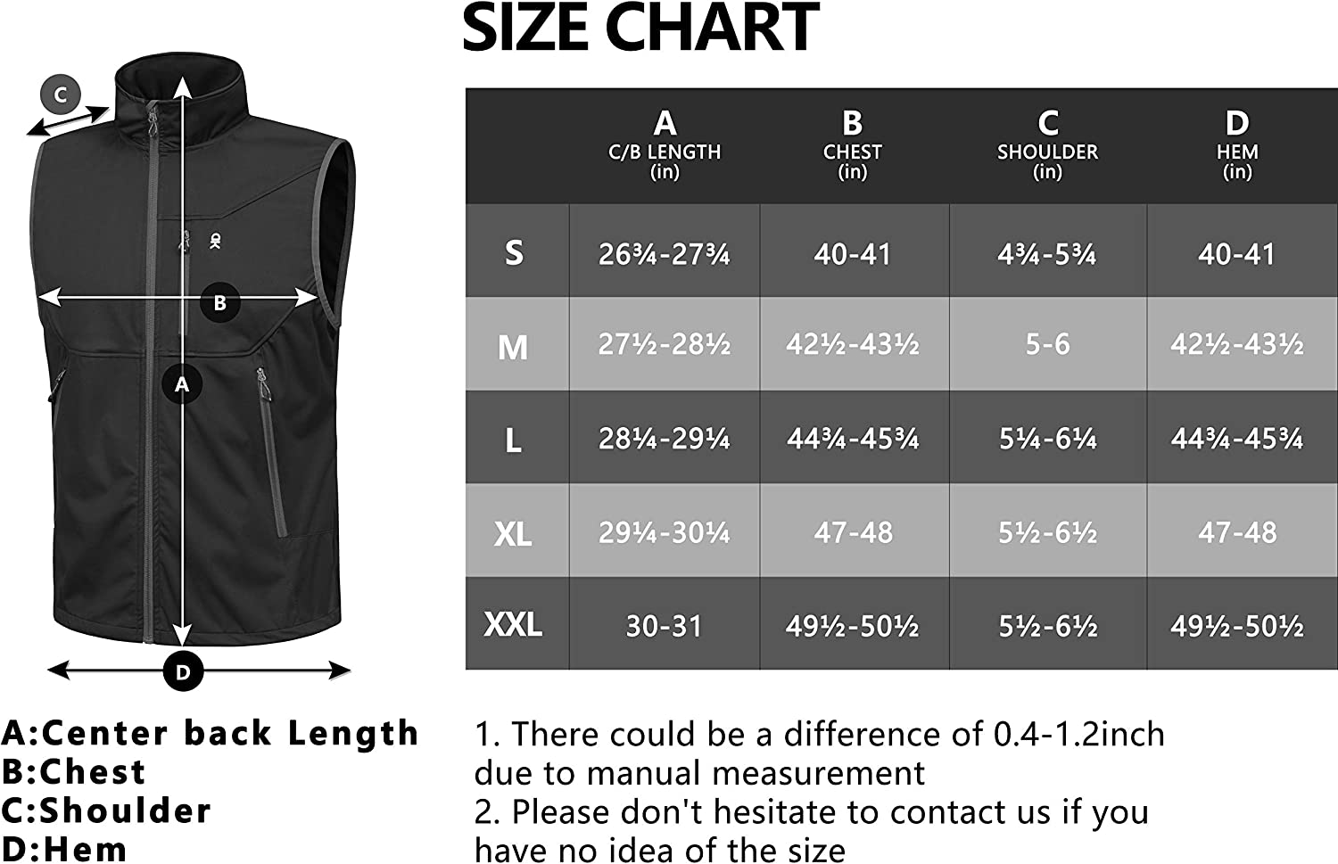 Little Donkey Andy Men's Lightweight Softshell Vest, Windproof Sleeveless Jacket for Travel Hiking Running Golf: Clothing