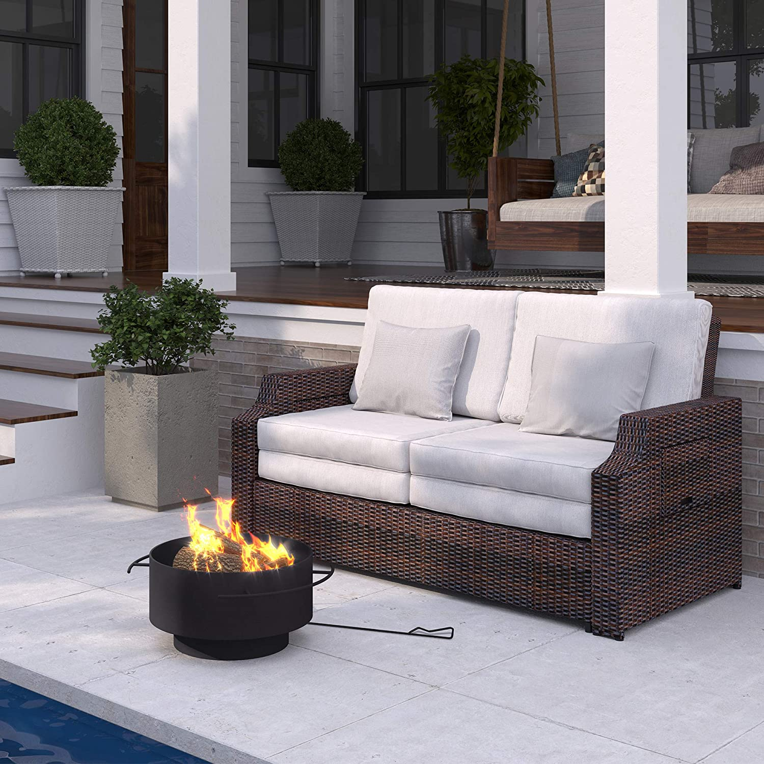 Amazon Com Martha Stewart Bedford Wood Burning 24 Round Fire Pit Dark Charcoal Garden Outdoor