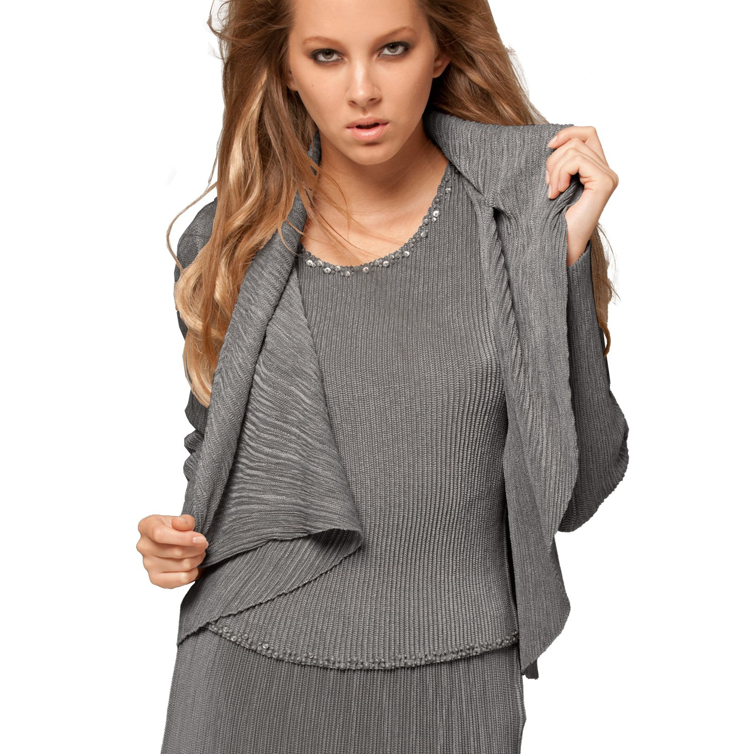 SPECCHIO PLEATS Women's Short-sleeve top trimmed with beads & sequins one size Grey