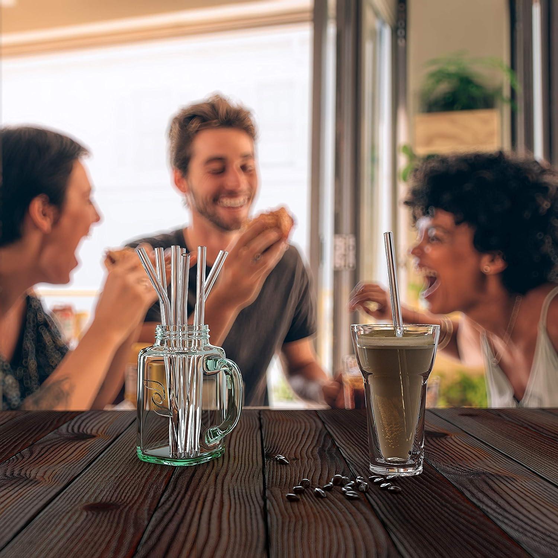 stabil ZWEIZACK /® Glasstrohalme nachhaltig plastikfrei Zero Waste gerade und gebogen 12er Set Glas Trinkhalme handgefertigt Hochwertiger Glas Strohhalm wiederverwendbar