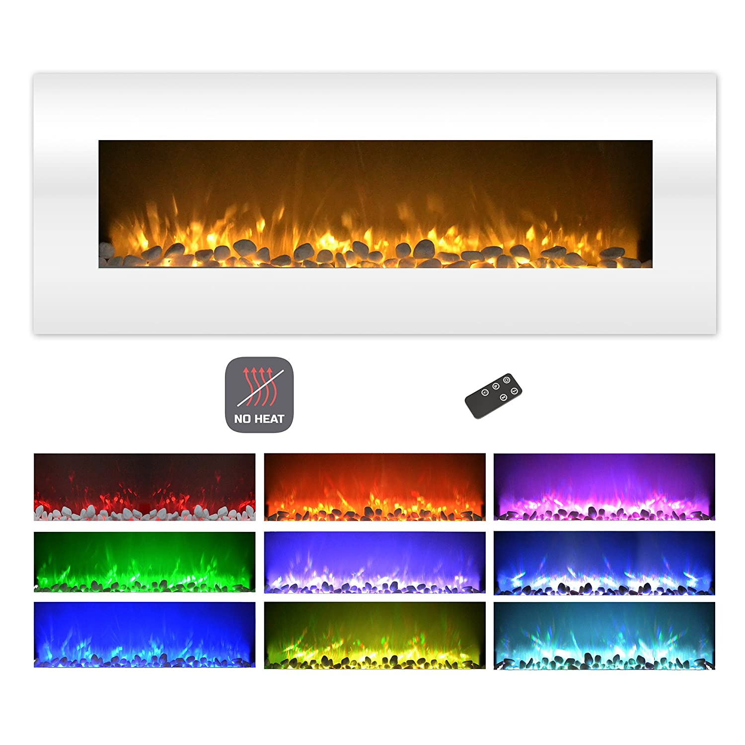 "Northwest Electric Fireplace Wall Mounted Color Changing LED Flame, NO Heat, with Multiple Decorative Options and Remote Control, 50"", White"