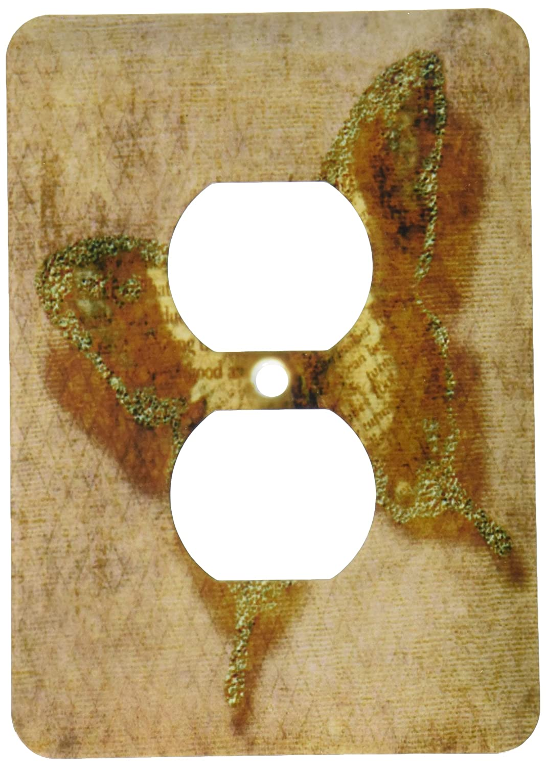 3dRose  lsp/_56240/_6 Beige Inspirational Butterfly Whimsical Art Nature 2 Plug Outlet Cover