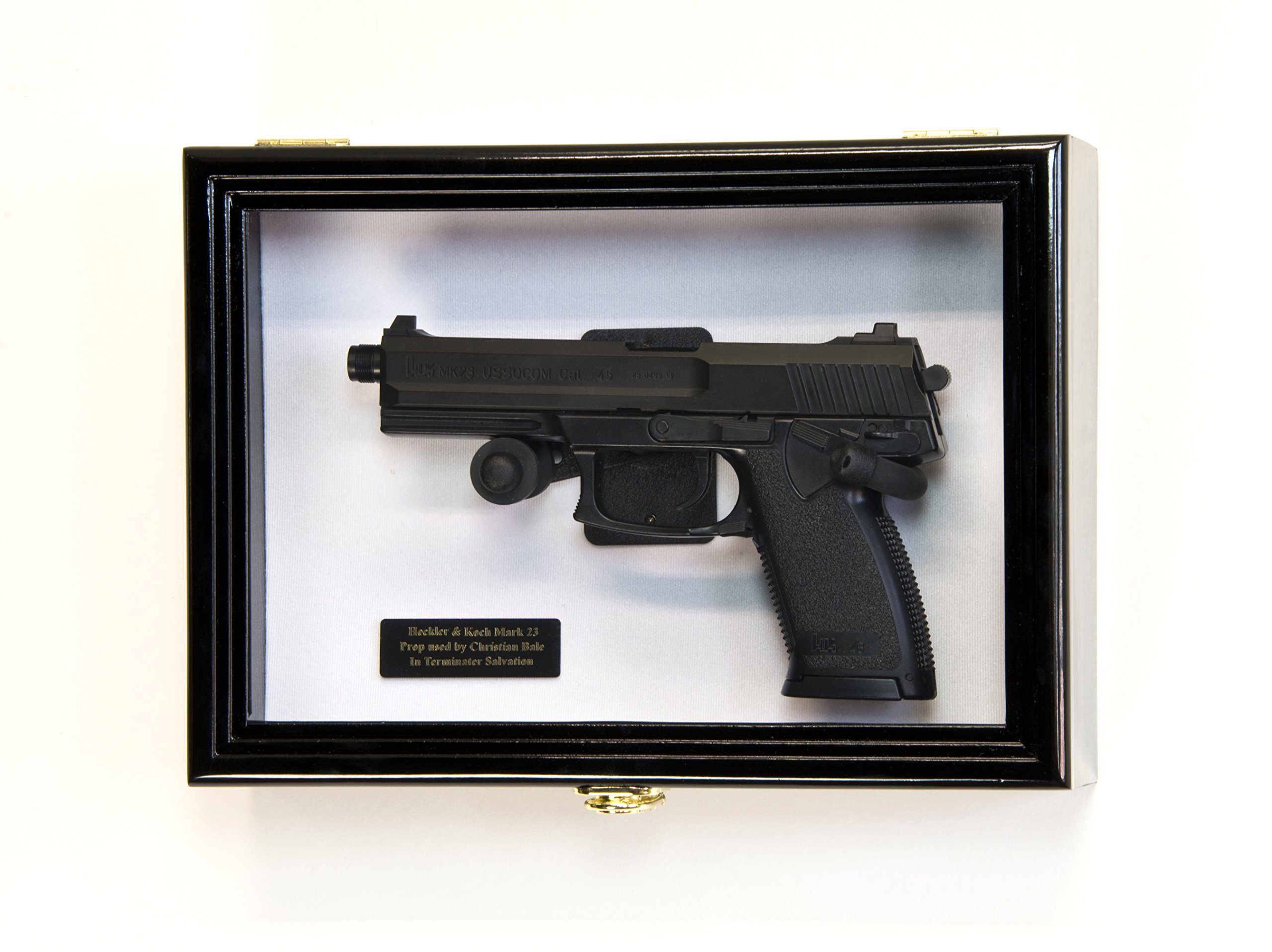 Single Pistol Display Case Wall Mount Solid Hardwood Cabinet (Black Finish, White Felt Background) by sfDisplay.com, Factory Direct Display Cases