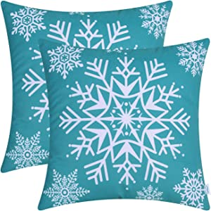 CaliTime Pack of 2 Cozy Fleece Throw Pillow Cases Covers for Couch Bed Sofa Christmas Snowflakes 18 X 18 Inches Teal