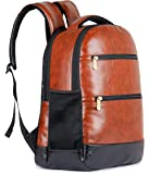The Clownfish Jovial 27 litres Faux Leather 15.6 inch Laptop Backpack | Laptop Bag | Travel Backpack | Casual Backpack | School Bag (Brown)