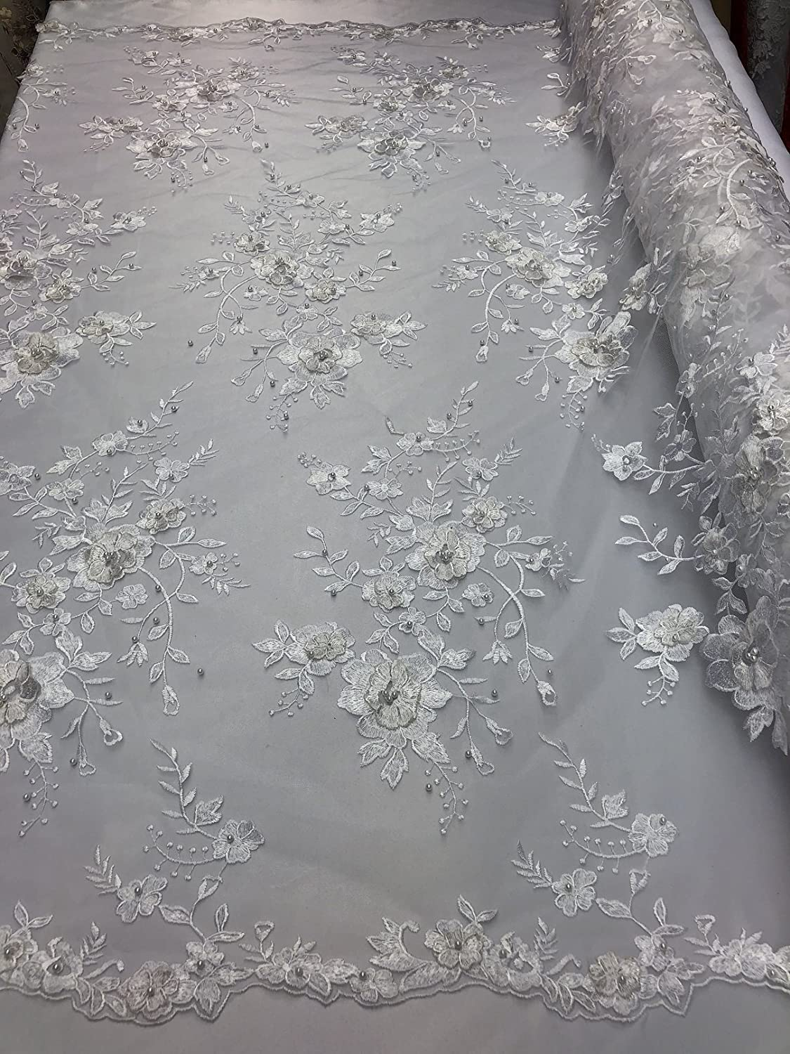 WHITE FLORAL BEADED DESIGN EMBROIDER WITH SEQUINS ON A MESH LACE-SOLD BY YARD