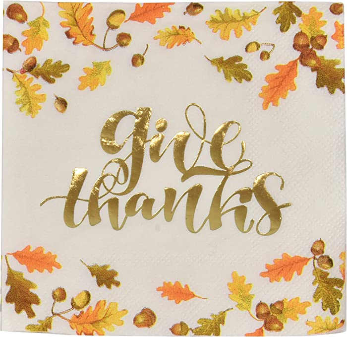 100 Thanksgiving Napkins Elegant Dessert 3 Ply Disposable Paper Holiday Harvest Cocktail Beverage Napkin Give Thanks in Gold Foil with Fall Leaves & Autumn Acorns Design Party Supplies Tableware Decor
