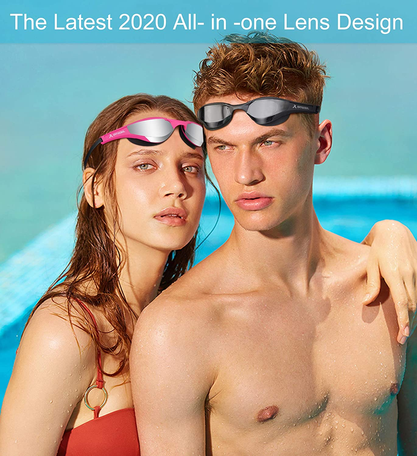 arteesol Swimming Goggles Adult Mirrored Swim Goggles Men No Leaking Anti Fog UV Protection Adjustable Elastic Strap with Protective Case Unisex for Men Women