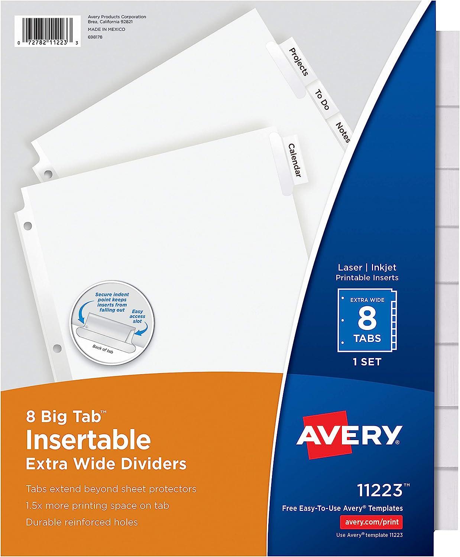 Avery 11223 Insertable Big Tab Dividers, 8-Tab, 11 1/8 x 9 1/4