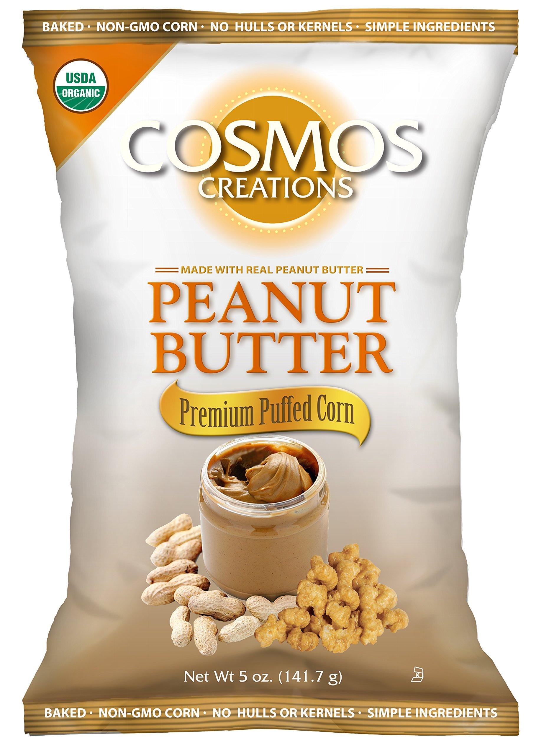 Cosmos Creations Organic Peanut Butter Premium Puffed Corn 5 oz bag, case of 10