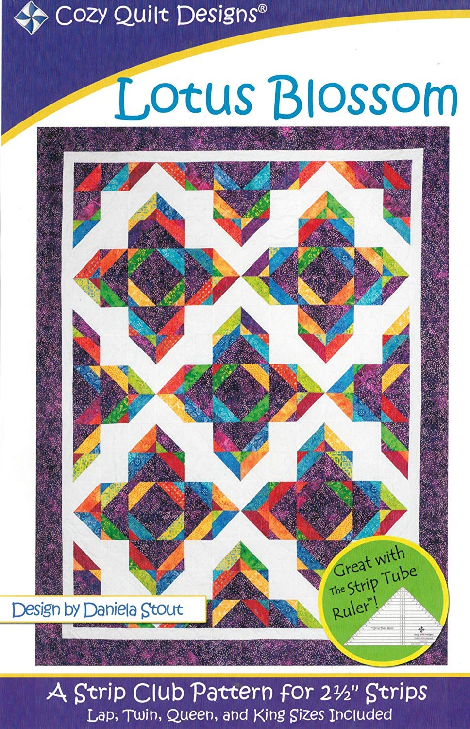 4 Finished Size Options Jelly Roll 2.5 Strip Friendly Lotus Blossom Quilt Pattern