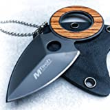 """BestSeller989 4"""" Wood Fixed Blade Necklace Knife Spear Finger Hole Neck Tactical Combat New"""