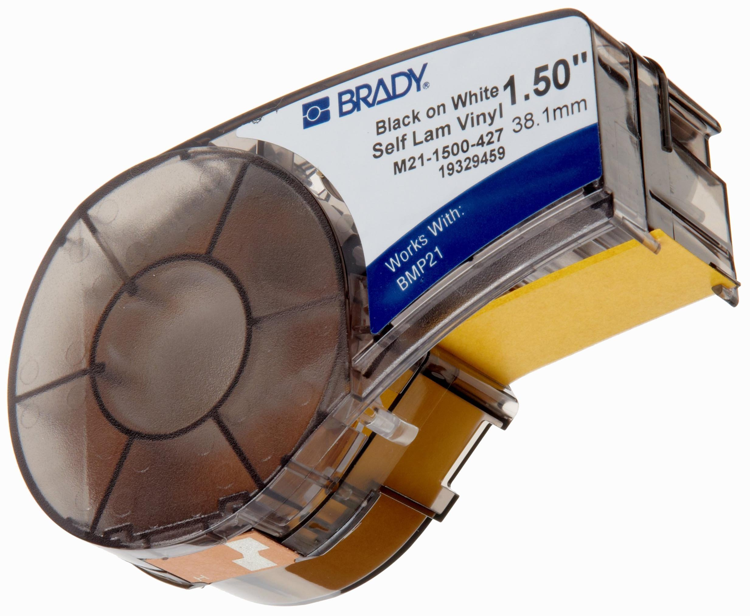 Brady Self-Laminating Vinyl Label Tape (M21-1500-427) - Black on White, Translucent Tape - Compatible with BMP21-PLUS Printer - 14' Length, 1.5'' Width