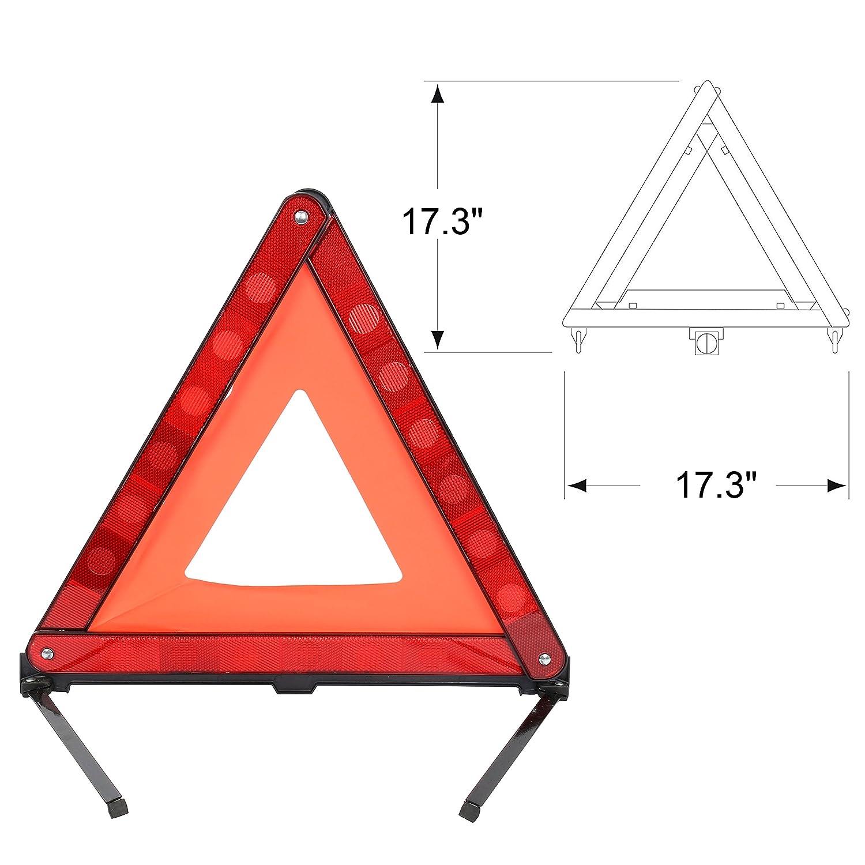 3 Pack Auto S/écurit/é durgence Debout Se Plie r/éfl/échissant Triangle de signalisation Plat en bordure de Route symbole de danger Voiture r/éfl/échissant Panneau davertissement Pliable