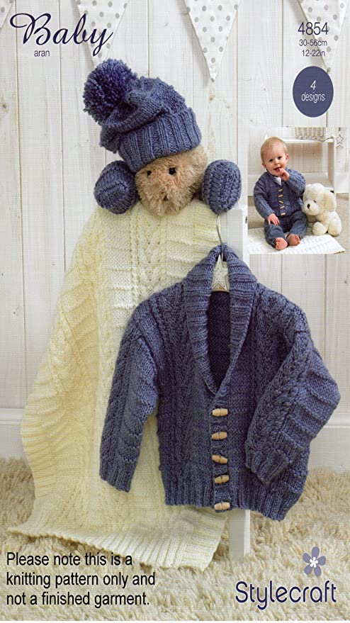 Stylecraft Aran Knitting Pattern - 4854 Baby Cardigan & Accessories ...